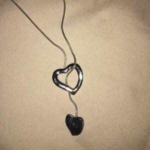 CUTE SILVER COLOR HEARTS NECKLACE NEW 14 INCH